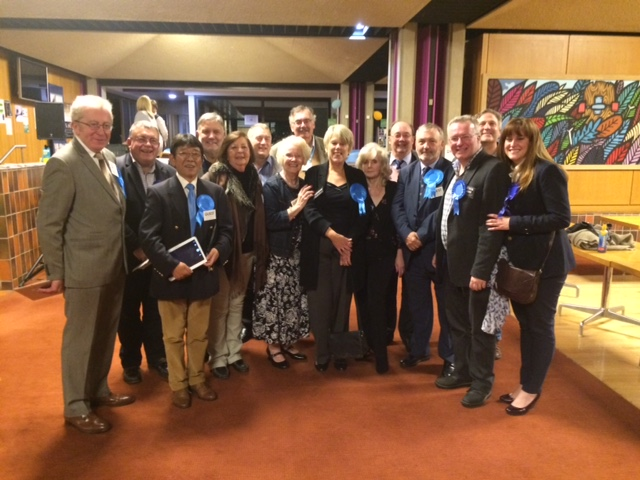 Josie with fellow Conservative councillors and members at the count