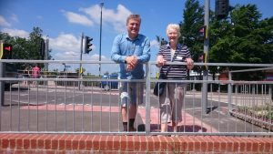 Rupert and Sylvia on the enhanced pedestrian cyclist crossing